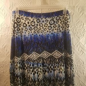 Primabella Tiered Blue Pattern Maxi Skirt PXLarge